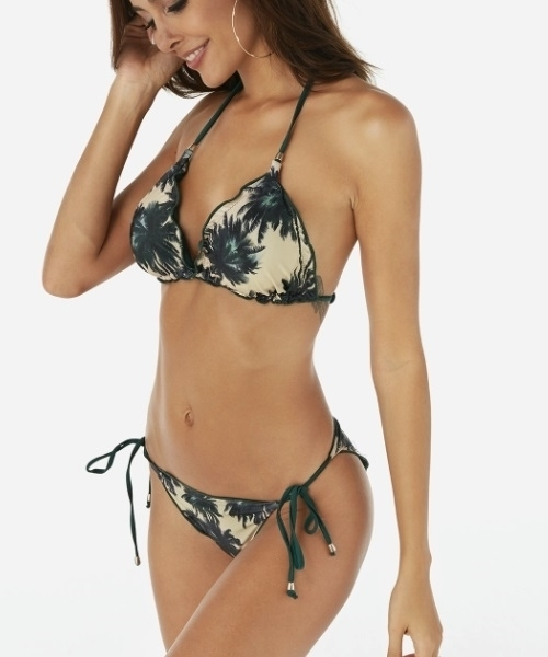 Picture of Palm Tree Ruffle trim Bikini Set