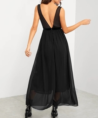 Picture of Contrast Sequin Bodice Evening Long Dress