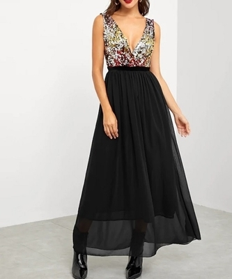 Picture of Contrast Sequin Bodice Evening Dress