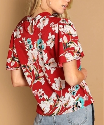 Picture of Mock Neck Keyhole Back Floral Top