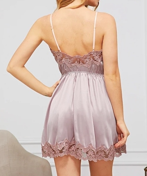 Picture of Contrast Lace Satin Cami Babydoll