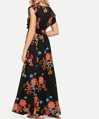 Picture of Ruffle Embellished Shirred Waist Floral Dress