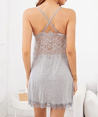 Picture of Crisscross Back Contrast Lace Cami Babydoll