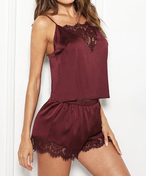 Picture of Lace Trim Satin Cami & Shorts Sleepwear Set