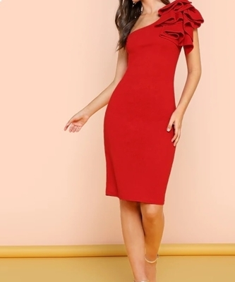 Picture of One Shoulder Ruffle Skinny Dress