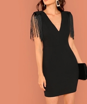 Picture of Tassel Detail Solid Cocktail Dress