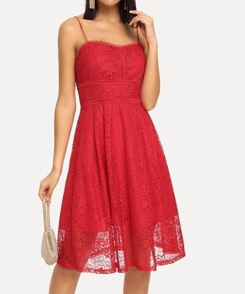 Picture of Lace Fit & Flare Lace Cocktail Dress