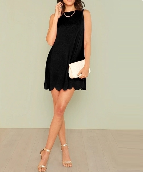 Picture of Scalloped Hem Solid Swing Dress