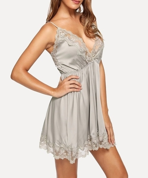 Picture of Contrast Lace Cami Babydoll With Panty