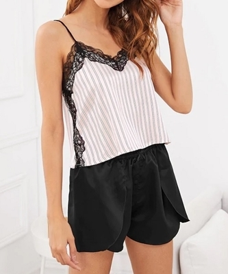 Picture of Lace Trim Striped Cami Pajama Set