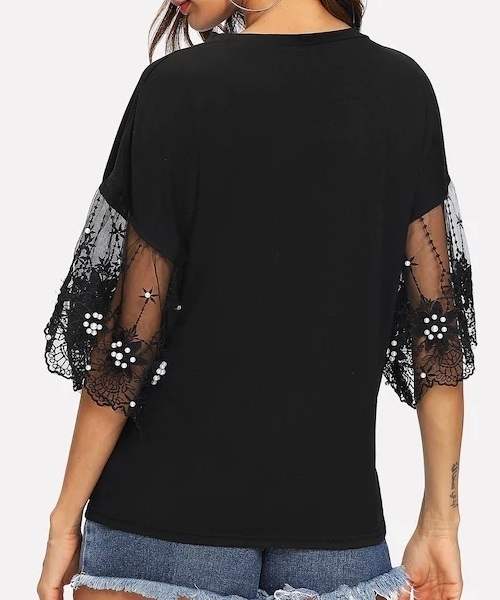 Picture of Flare Sleeve Lace Contrast Top