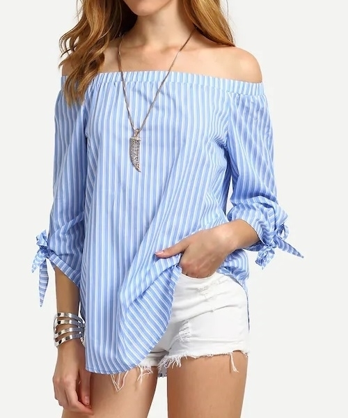 Picture of Blue Striped Off The Shoulder Tie Cuff Blouse