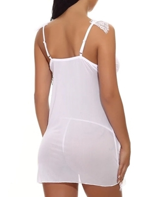 Picture of Eyelash Lace Trim Babydoll With Thong