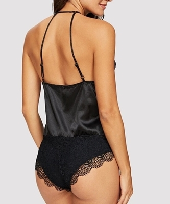 Picture of Scalloped Trim Contrast Lace Satin Teddy Bodysuit