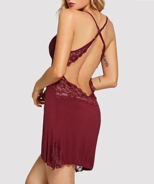 Picture of Crisscross Back Lace Trim Cami Babydoll