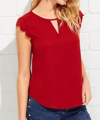 Picture of Front Scallop Trim Curved Hem Top
