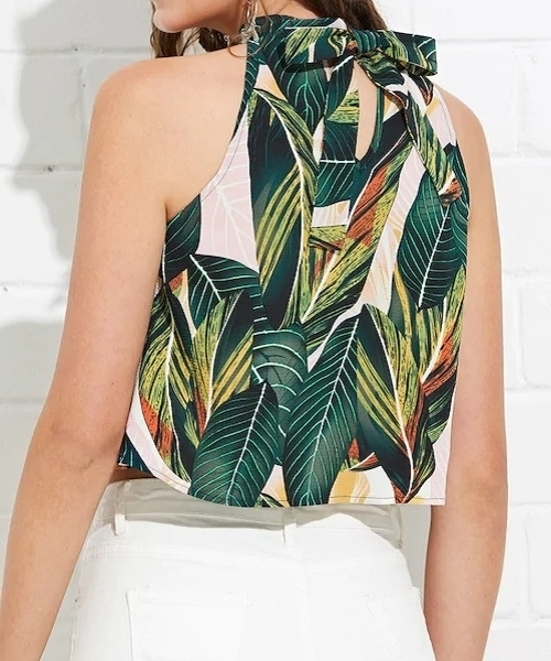 Picture of Knot Back Halter Neck Tropical Print Top