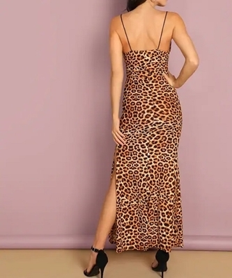 Picture of Open Back Split Side Leopard Cami Dress