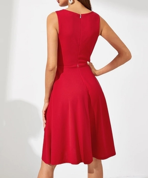 Picture of Solid Fit And Flare Dress
