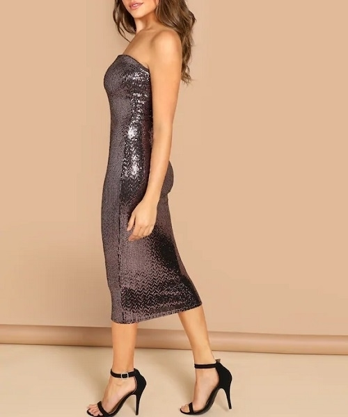 Picture of Form Fitting Sequin Strapless Dress Pink