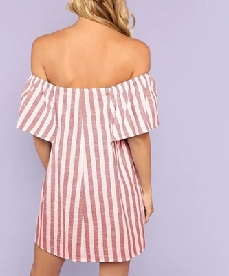 Picture of Off Shoulder Tunic Striped Dress