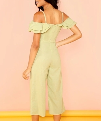 Picture of Cold Shoulder Slant Pocket Foldover Palazzo Jumpsuit