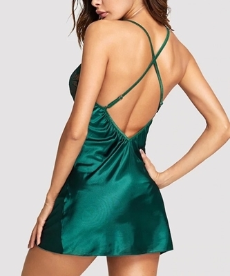 Picture of Criss Cross Back Contrast Lace Babydoll