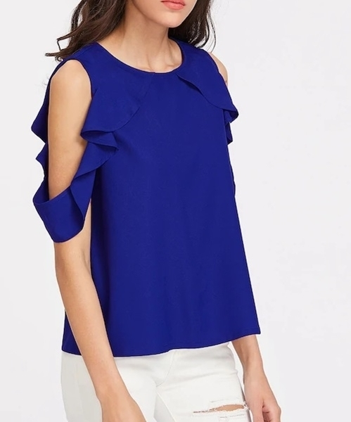 Picture of Button Closure Back Drape Ruffle Cold Shoulder Top