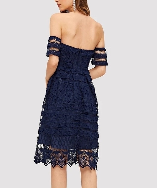Picture of Off Shoulder Lace Solid Dress