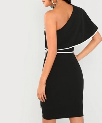Picture of Contrast Binding Flounce One Shoulder Dress