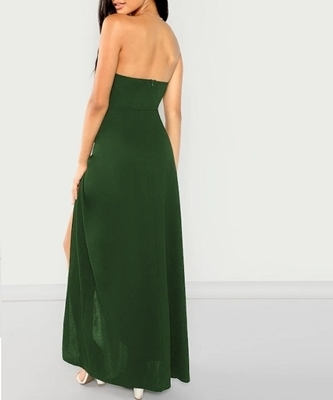 Picture of Bandeau Off Shoulder Split Solid Occasion Dress