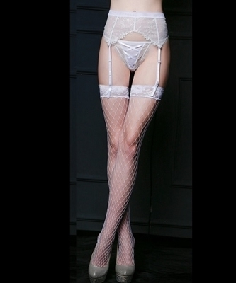 Picture of Bridal white lace garter and fishnet stockings set