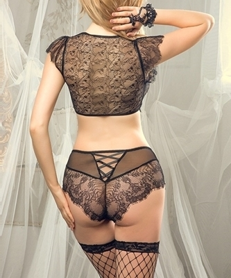 Picture of Lace and Mesh Bra Tie Up front Set (incl Gloves & Stockings)