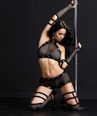 Picture of Fishnet Halter PVC Set (4 Piece - incl Stockings)