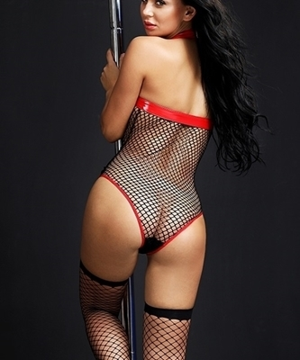 Picture of Red Fishnet and PVC Halter Teddy (incl Stockings)