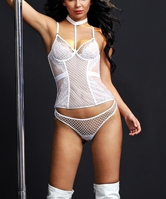 Picture of Lace and Mesh Fishnet Choker Bustier