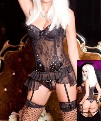 Picture of Lace Diamante Bustier Set (incl Gloves & Stockings)