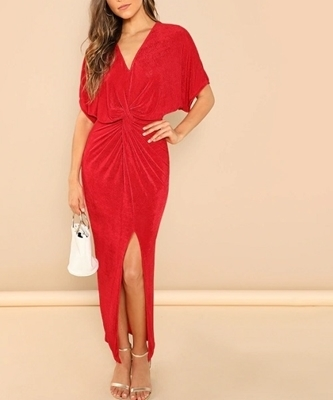 Picture of Twist Front V-Neck Solid Dress