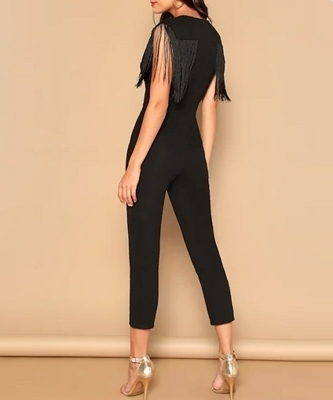 Picture of Plunging Neck Fringe Fitted Jumpsuit
