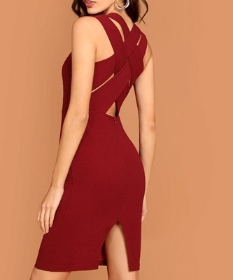 Picture of Criss Cross Split Back Sleeveless Pencil Dress