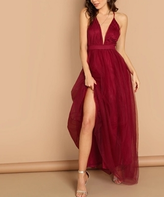 Picture of Plunging Neck Crisscross Back Cami Dress