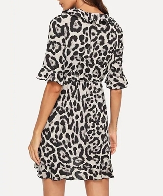Picture of Ruffle Trim Surplice Wrap Leopard Dress