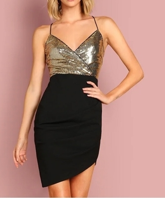 Picture of Bodice Sequin Crisscross Back Wrap Cami Cocktail Dress