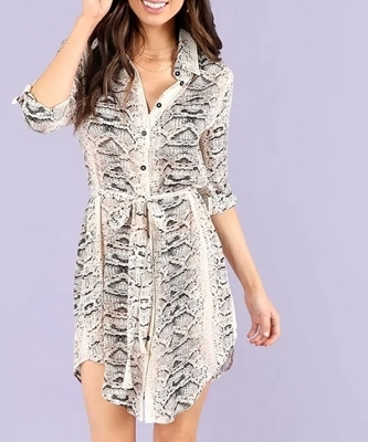 Picture of Button Front Snake Skin Print Dress