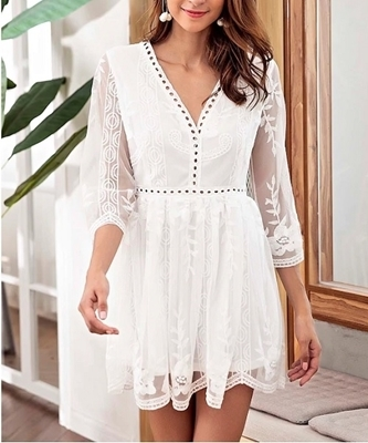 Picture of Floral Embroidered Cut Out Mini Dress