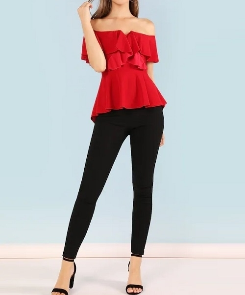 Picture of Ruffle Trim Peplum Zip Back Top
