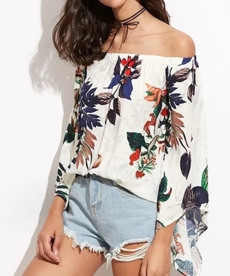 Picture of Tropical Print Bardot Trumpet Sleeve Top
