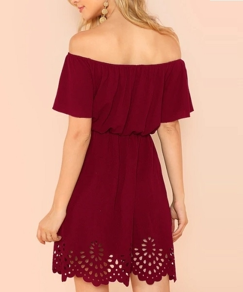 Picture of Off Shoulder Cutout Scallop Dress