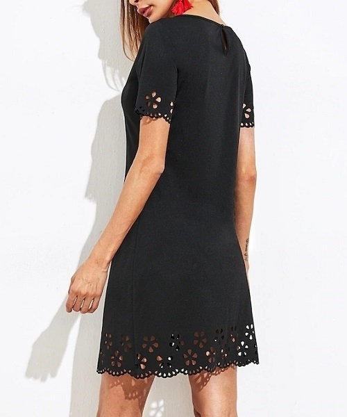 Picture of Scallop Laser Cut Keyhole Back Dress