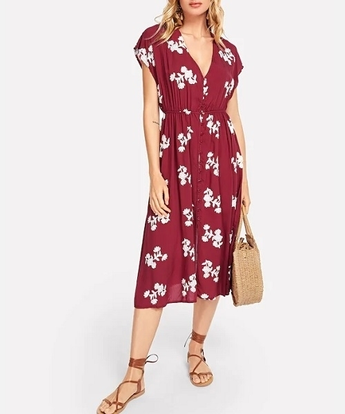 Picture of Button Front Flower Embroidered Shell Dress